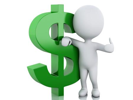 3d renderer illustration. White people with dollar sign. Businessman concept on white background Standard-Bild