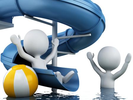 water slide: 3d renderer image. White people on water slide. Summer holiday concept