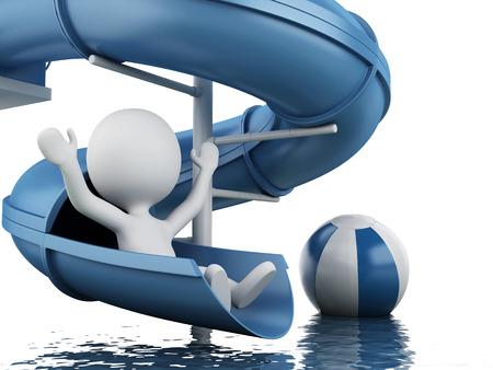 aqua park: 3d renderer image. White people on water slide. Summer holiday concept