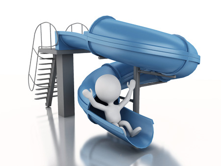 water slide: 3d renderer image. White people on water slide. Summer holiday on white background