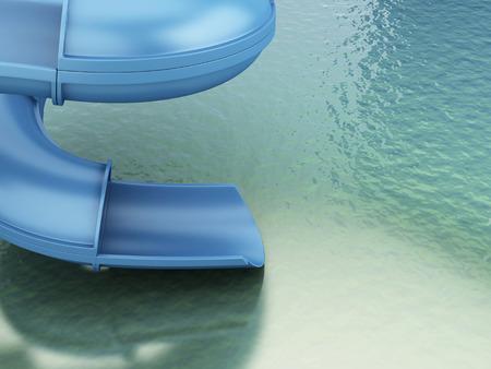 wet girl: 3d renderer image. Slides of the aquapark. Summer holiday concept Stock Photo