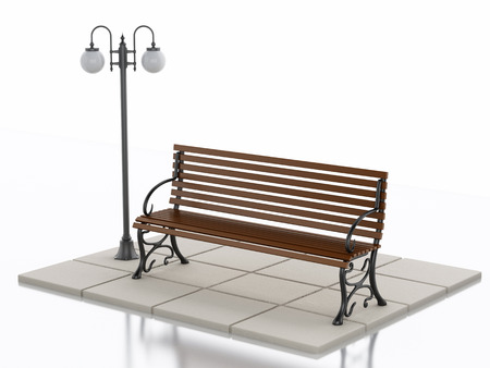 street lamp: 3d illustration. Bench and street lamp. Isolated white background
