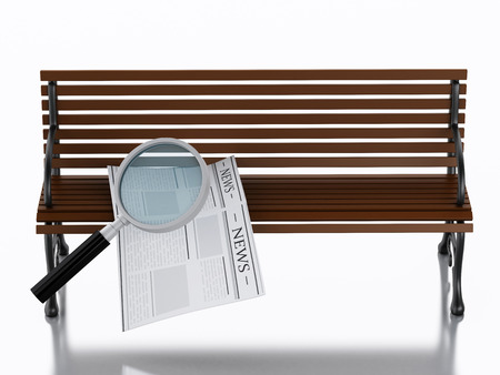 wooden bench: 3d illustration. Newspapers with magnifying glass on a wooden bench. Job search concept. Isolated white background Stock Photo