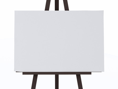 blank canvas: 3d illustration. Blank Canvas on an Easel. Isolated white background