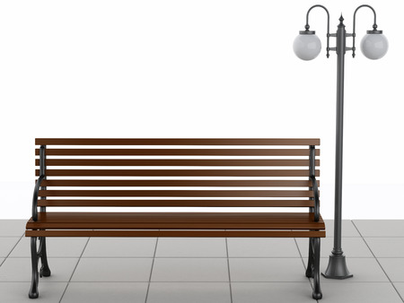 litterbin: 3d illustration. Bench and street lamp. Isolated white background