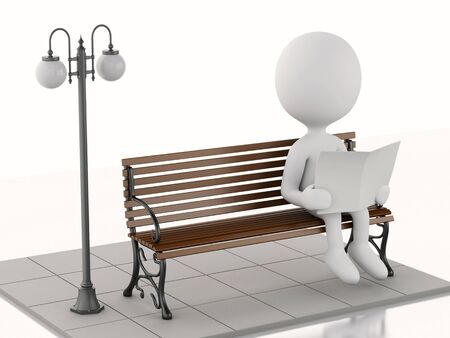 wooden bench: 3d illustration. White people reading a newspaper on a wooden bench. Isolated white background