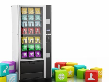 3d renderer image. 3d vending machine with application Icons. Social media concept. Isolated white background photo