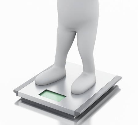 3d illustration. White people with ideal weight and scale. Isolated white background illustration