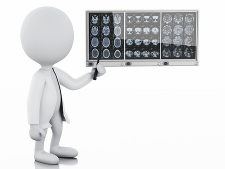 cranial: 3d white people doctor with cranial brain films. Isolated white background Stock Photo