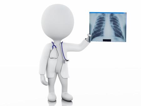 3d 일러스트 레이 션. 백인 사람들 의사는 청진 기와 방사선 사진. 격리 된 흰색 배경