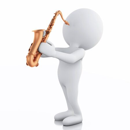 work popular: 3d illustration. White people playing saxophone. Isolated on white background