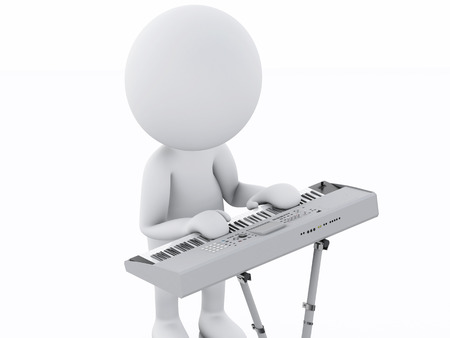 keyboard music: 3d image. White person playing keyboard. Music concept. Isolated white background