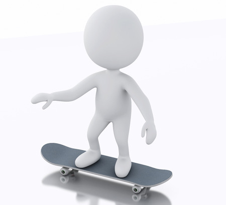 white person: 3d illustration. White person with a skateboard. Isolated white background