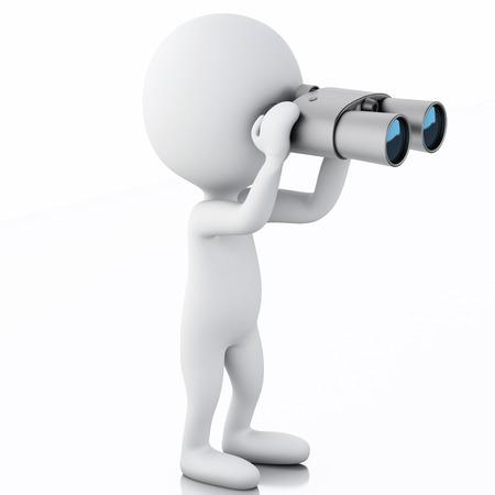 3 d レンダラーのイメージ。白の人が双眼鏡で探しています。孤立した白い背景 写真素材