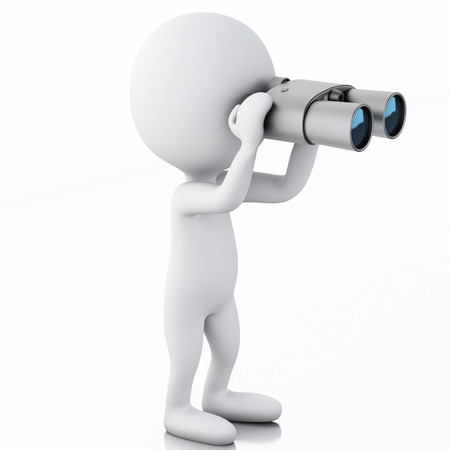 3d  renderer image. White people looking through binoculars. Isolated white background Stok Fotoğraf