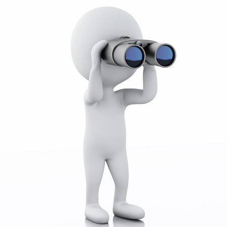 binoculars view: 3d  renderer image. White people looking through binoculars. Isolated white background Stock Photo