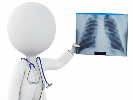 radiography: 3d illustration. White people doctor with a stethoscope and radiography. Isolated white background