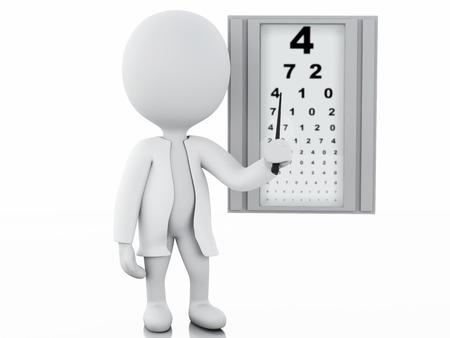 3 d イラスト。白い人の眼科医。孤立した白い背景