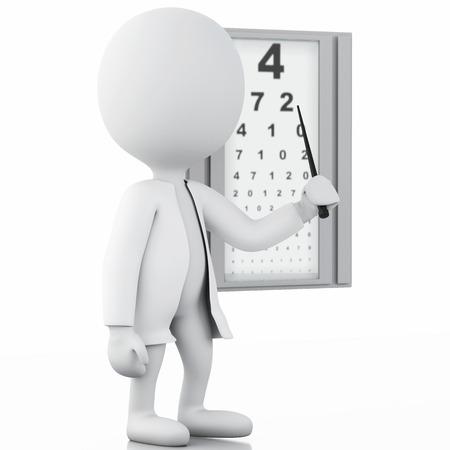 3d illustration. White people ophthalmologic medical. Isolated white background Archivio Fotografico