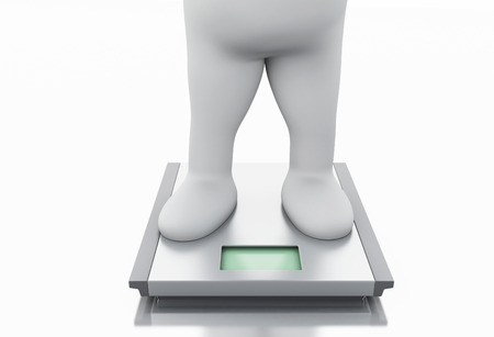 3d illustration. White people gained a lot of weight and scale. Isolated white background illustration
