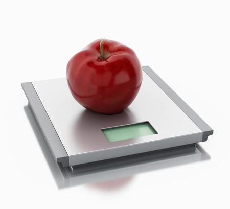 waistline: 3d renderer image. Scales and apple. Diet concept. Isolated white background