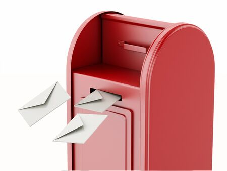 await: 3d illustration. Red mail box with heap of letters. Isolated white background