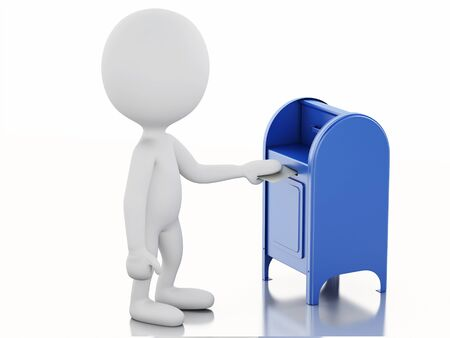 await: 3d illustration. White people with mail box and envelope. Isolated white background