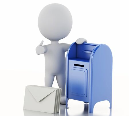 await: 3d illustration. White people with mail box and heap of letters. Isolated white background