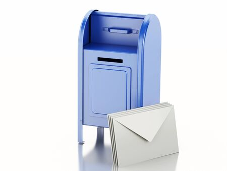 await: 3d illustration. Blue mail box with heap of letters. Isolated white background Stock Photo