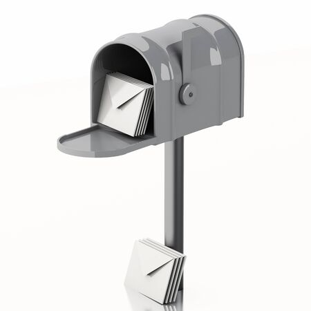 await: 3d illustration. Mail box with heap of letters. Isolated white background
