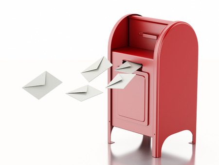 3d illustration. Red mail box with heap of letters. Isolated white background