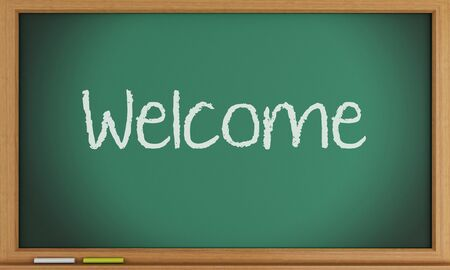 3d illustration. Welcome written on blackboard background. illustration