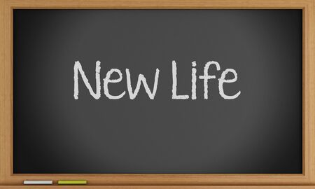 3d illustration. New life written on blackboard. Stok Fotoğraf