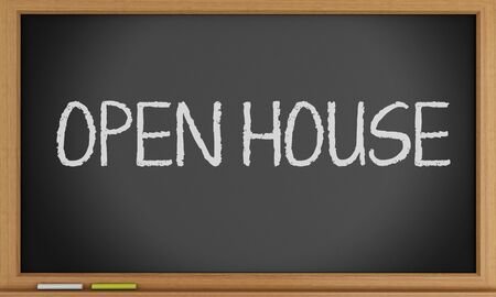 open house: 3d illustration. Open house written on blackboard background.