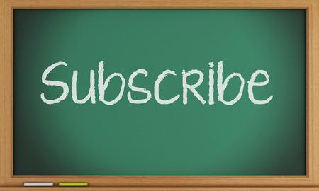 3d illustration. Subscribe written on blackboard background. illustration