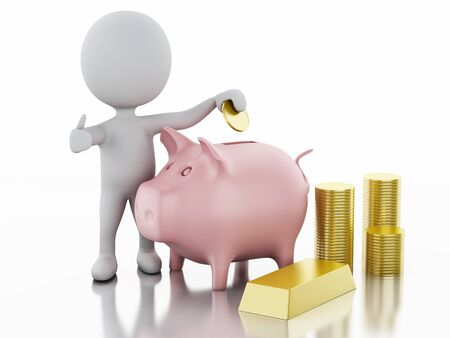 wealth: white people with Piggy bank and stacks of gold coins. Isolated white background. 3d renderer image.