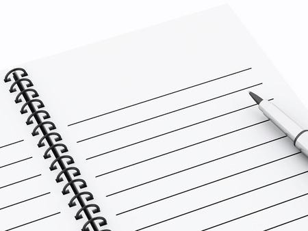 3d renderer illustration. Blank spiral Notepad with pen. illustration