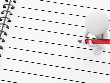 3d renderer illustration. White people with blank spiral Notepad and pen. illustration
