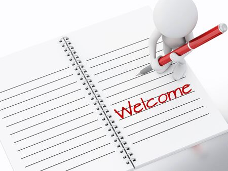 3d renderer illustration. White people writing welcome on notebook page illustration