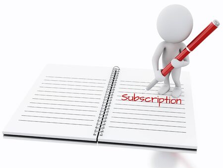 subscription: 3d renderer illustration. White people writing subscription on notebook page. Stock Photo