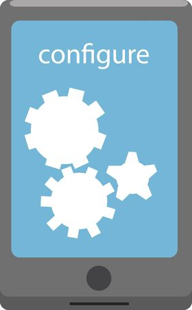 configure: Vector illustration of a smartphone with cog wheels. Configure concept.