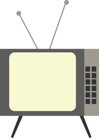 vintage television: Vector illustration of a vintage television with antenna. Flat design. Illustration