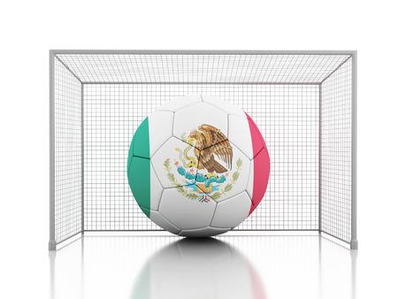 drapeau mexicain: 3d image de rendu. Soccer ball avec le drapeau mexicain. Fond blanc isolé