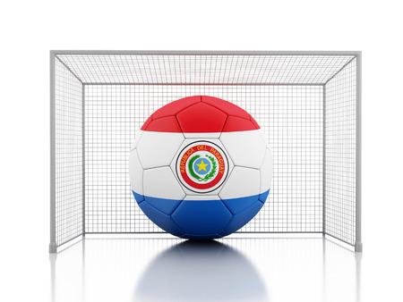 Paraguay flag: Imagen de render 3d. Bal�n de f�tbol con la bandera de Paraguay. Fondo blanco aislado