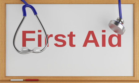 firstaid: 3d illustration. Stethoscope and blackboard with the word first aid. Medicine concept