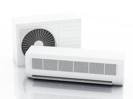 3 d レンダラーのイラスト。エアコン システム。夏のコンセプトです。孤立した白い背景 写真素材