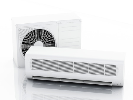 acclimatization: 3d renderer illustration. Air conditioner system. Summer concept. Isolated white background
