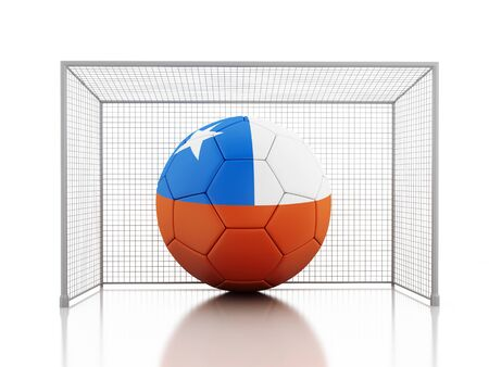 chile flag: 3d renderer image. Soccer ball with Chile flag. Isolated white background Stock Photo
