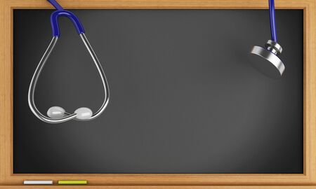 medico: 3d illustration. Stethoscope and black blackboard. Medical concept