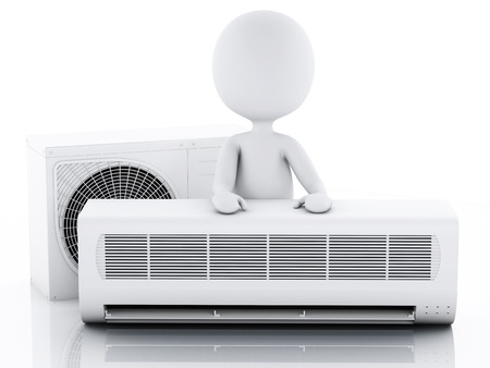 intake: 3d image. White people with air conditioner. Summer concept. Isolated white background